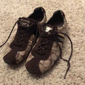 Brown and gold coach tennis shoes